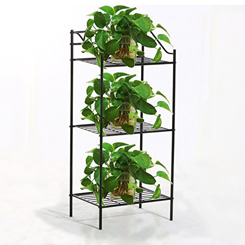 3 TIER Metal Shelves Flower Pot Plant Stand Display Indoor Outdoor Garden Black