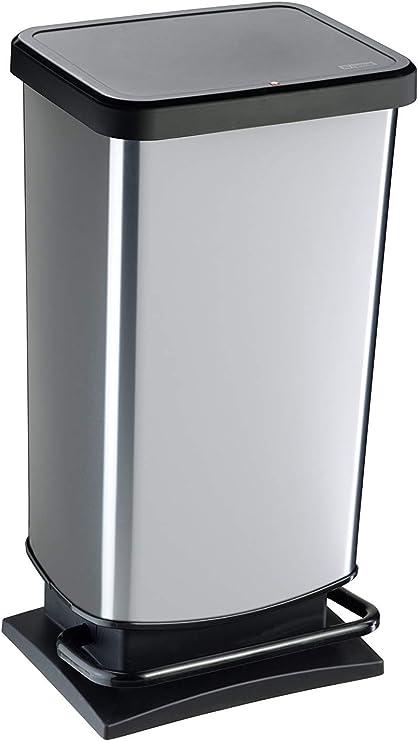 Rotho Paso Mülleimer 40l mit Pedal und Deckel, Kunststoff (PP) BPA frei, silber metallic, 40l (35,3 x 29,5 x 67,6 cm)