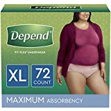 Depend FIT-FLEX Incontinence Underwear for Women, Disposable, Maximum Absorbency, XL, Blush, 72 Count