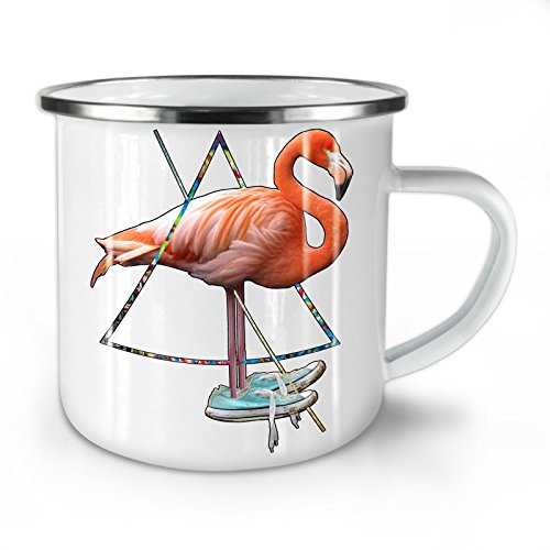 Flamingo Bird Shoe Enamel Mug, Sneaker Cup - Strong, Easy-Grip Handle, Two Side Print, Ideal for Camping & Outdoors By Wellcoda ()