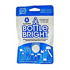 Hydrapak Bottle Bright Biodegradable Bottle Cleaning Tablets (12 Piece), Chlorine-Free and All Natural, Clean and Odor-Free Bottles