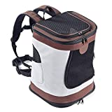 Eyxia- Pet Master Pet Backpack, Foldable Dogs Backpack Waterproof Puppy Cat Rucksack Pet Travel Carrier Top Open Soft Side Pet Carrier Bag, For Going Out Or Travelling Packet,Brown Bag Dog Walking Cat