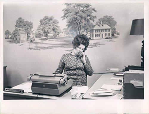 1950 Desk Phone - Circa 1950 Garden Village Clerk Beverly Carver Secretary Phone Desk Press Photo