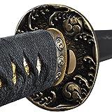 katana sword parts - Handmade Sword - Samurai Katana Sword, Practical, Hand Forged, 1045 Carbon Steel, Heat Tempered, Full Tang, Sharp, Waves Pattern Tsuba, Black Wooden Scabbard Painted Willow and Flower Pattern