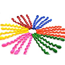 Icarekit 10 Colorful Latex Inflatable Long Spiral Helium Rubber Balloons Assorted Color for Party Birthday Festival Decoration Activities Props