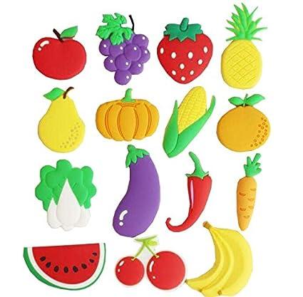 imanes de nevera estéreo de frutas de dibujos animados para niños