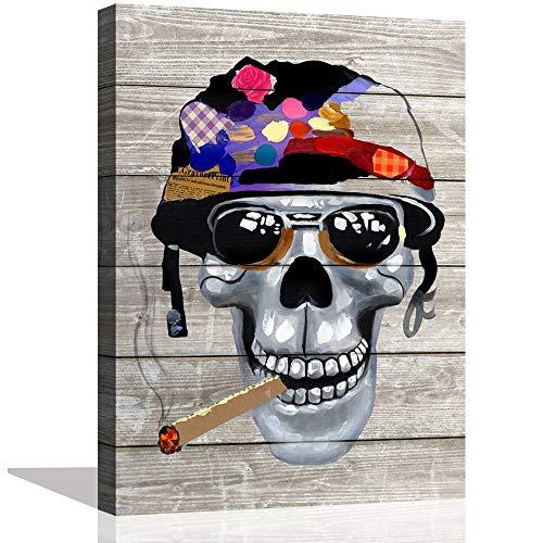 Pop Art Halloween Look (ARTSPIRIT Abstract Office Wall Decor Skull Wall Art Smoke Canvas Print Pop Art Oil Paintings for Lving Room Bedroom Halloween Day Wall Decoration Framed Inspirational)