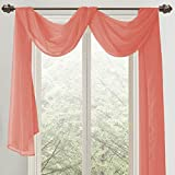 RT Designers Collection Celine Sheer 55 x 216 in. Sheer Curtain Scarf, Coral