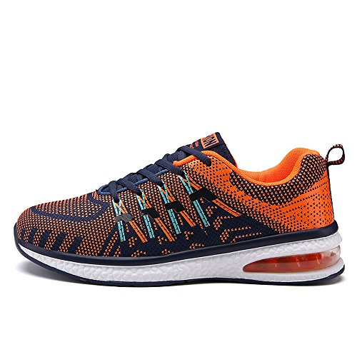 Santiro Unisexo Zapatillas Deportivas Respirable Sneaker para Hombre Mujer. Naranja