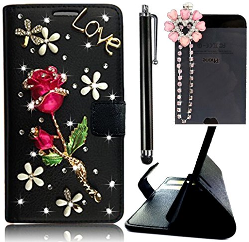 Vandot iPhone 6 6S 4.7 inch Black Wallet Card Slot Case,Designs with Rose Red Rose Love 3D Diamond Crystal Rhinstone PU leather Magnetic Flip Stand Skin Cover Shell+Flower Anti Dust Plug+Stylus Pen (Rhinstone Crystal)