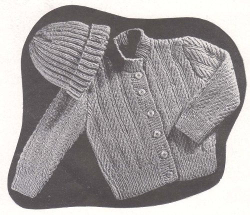 Infant TwoPiece Knitted Set No B17 Baby Jacket Sweater Cap Hat Bonnet Knitting Pattern