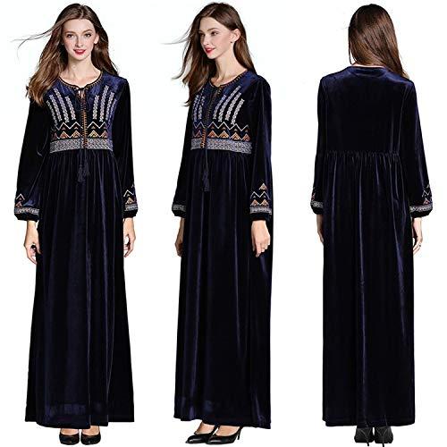 NPRADLA Large Falda Vestido de Abaya de Manga Larga con Estampado étnico árabe islámico musulmán de Oriente Medio Partido Elegante Moda Negro L: Amazon.es: ...