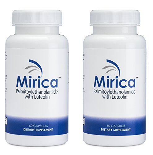 Mirica - Pea (Palmitoylethanolamide) and Luteolin - Natural Pain Relief - 2 Bottle Bundle - Made with OptiPEA from The Netherlands - Anti-Inflammatory Supplement - 60 ct.