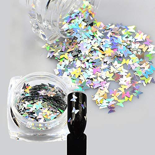 1Pcs Laser Shiny Diamond Round Ultrathin Sequins Nail Art Glitter Tips UV Gel 3D Butterfly sequins laser magic silver Butterfly sequins Nail Decoration Manicure DIY Accessories