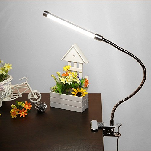 E-Plaza Dimmable 2 Levels of Brightness with Switch Eye-Care LED Desk Lamp Clip On Book Reading Light USB Rechargeable for Keyboard Piano (White) by Eplze (Image #1)