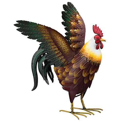 Regal Art & Gift Bantam 17.25 inches x 19 inches x 22.25 inches Metal Rooster Decor With Wings Out - Lawn and Garden Statuary
