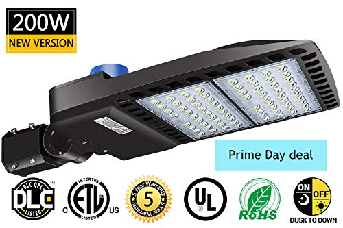 LED Parking Lot Lights 200W 26000 Lm Outdoor LED Lights Dusk to Dawn with Photocell Shoebox Pole LED Flood Light 5000K 600W Equivalent Commercial Street Area Lighting for Stadium|Parking Lot|Roadways