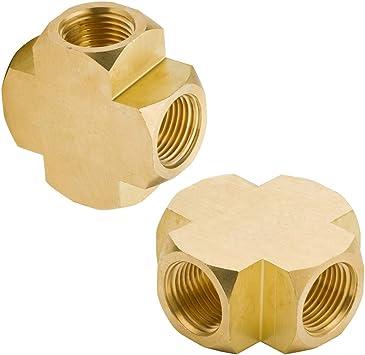 "Brass Cross Size 1//4/"" NPT Quantity of 5"