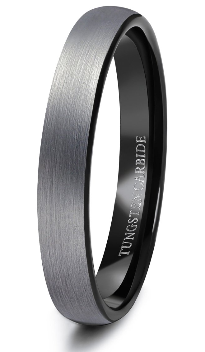 Tungary 4mm Tungsten Rings for Men Wedding Engagement Band Brushed Black Size 8