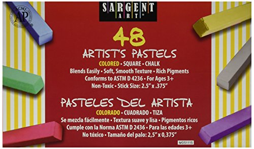 Sargent Art 22-4148 Non-Toxic Square Chalk Pastel Set in Tray, 3/4
