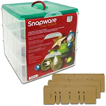 Snapware 1098785 Snap N Stack Seasonal Ornament (3 Trays) 13.1 inches x 13.1 inches Square Layer Storage Containers Set