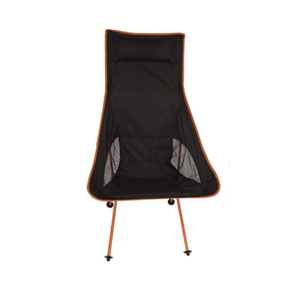 Yuiop超軽量バックパッキングFolding Chair withバッグポータブルMoonレジャー椅子 B073XLL7YL  ブラック