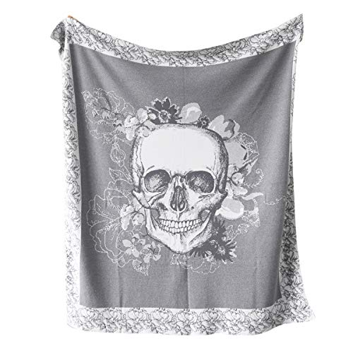- Sleepwish Gray Throw Knitted Cotton Coverlet Skull Roses Reversible Blankets Decorative Knit Blanket Soft Handmade Sofa Throw 50