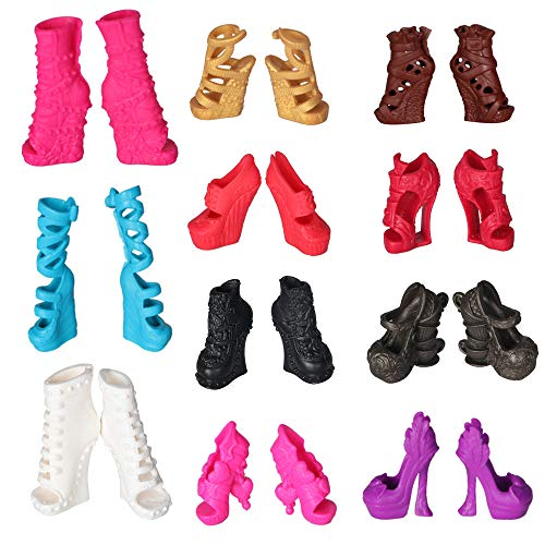 Tanosy 10 Pairs Shoes for Monster High Doll Accessories Fashion High Heels Sandals Boots Variety Colors Halloween Xmas -
