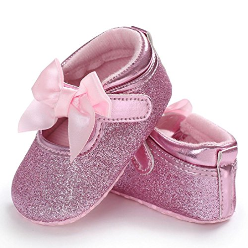 Jamicy® Babyschuhe, Baby Mädchen Bowknot Leder Weiche Sohle Krippe Schuhe Rosa