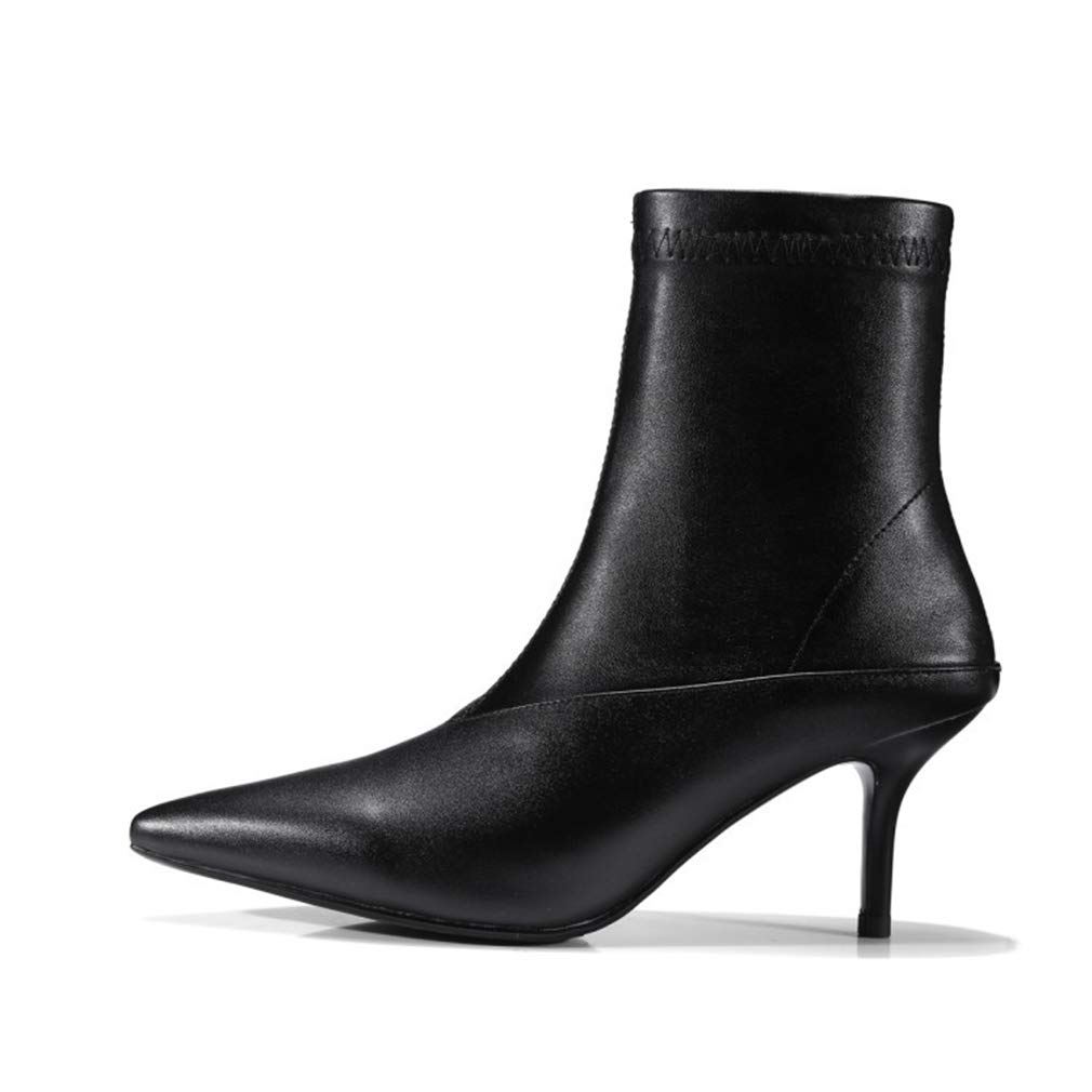 Black Women's Ankle Boots, Fashion Pointed Stilettos Autumn Winter Stretch Boots European Leather Booties Black White (color   Black, Size   34)