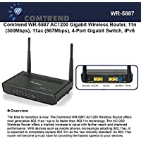 Comtrend WR-5887 AC1200 Gigabit Wireless Router, 11n 300Mbps, 11ac 867Mbps, IPv6