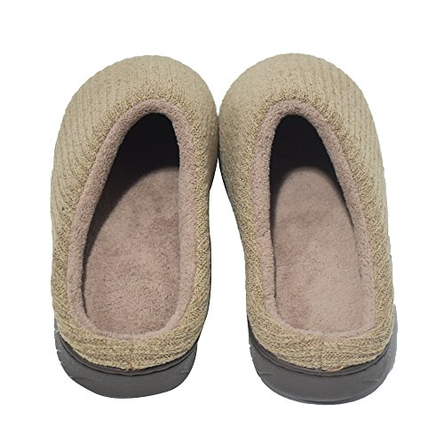 coface Women Cashmere Cotton Knitted Anti-Slip House Slippers Winter Breathable Indoor/Outdoor Shoes,Gray-3940