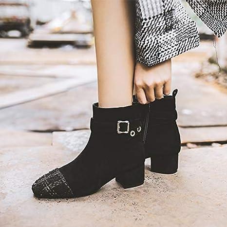 Shukun Botines Botas Ajustadas Calcetines Femeninos de otoño e Invierno Calcetines Zapatos de tacón Grueso Botas