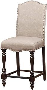 Benjara Benzara , Set of Two, Beige Hurdsfield II Cottage Counter Height Chair, Cherry Finish
