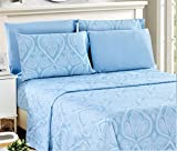 #6: 6 Piece: Paisley Printed Bed Sheet Set 1800 Count Egyptian Quality HOTEL LUXURY Flat Sheet,Fitted Sheet with 4 Pillow Cases,Deep Pockets, Soft Extremely Durable by Lux Decor (Queen, BLUE)