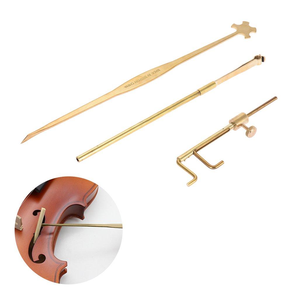 ammoon Violin Luthier Tools Kit Set Sound Post Gauge Measurer & Retriever Clip & Setter Brass by ammoon (Image #3)