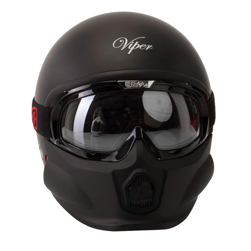 Viper RS07 Trooper Open Face w//Mask Motorcycle Helmet Matt Black M