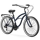 "sixthreezero Around The Block Women's 7-Speed Beach Cruiser Bicycle, 26"" Wheels, Navy Blue with Black Seat and Grips"