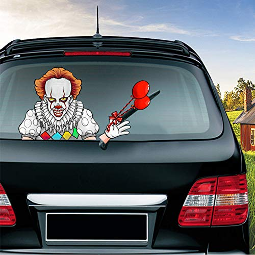 ZYTC Halloween Rear Wiper Decal Blade Tag Sticker Horror Clown Waving Shake Arm Stickers Removable PVC Decals Car Styling Accessories Window Windshield Decoration