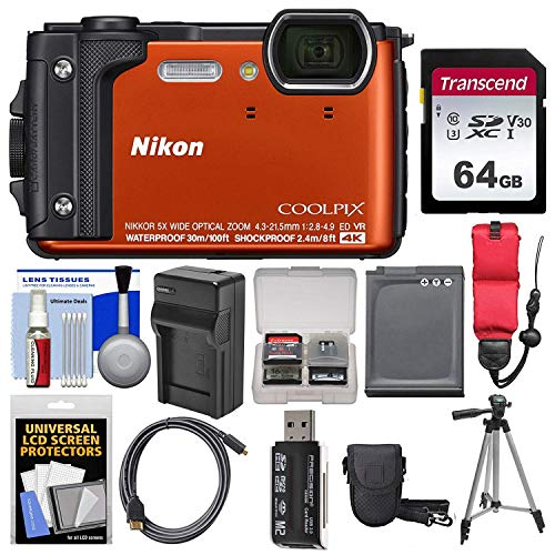 Nikon Coolpix W300 4K Wi-Fi Shock & Waterproof Digital Camera (Orange) with 64GB Card + Case + Battery & Charger + Tripod + Float Strap +Ultimate Bundle