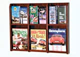 Wooden Mallet LM-9 Wall Mounted Magazine Rack (up to 6) & Brochure Holder (up to 12) in Dark Red Mahogany from ABC Office