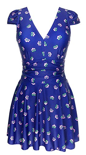 Women's One Piece Floral Ruched Slimming Tummy Control Swimdress Tankini Swimsuit