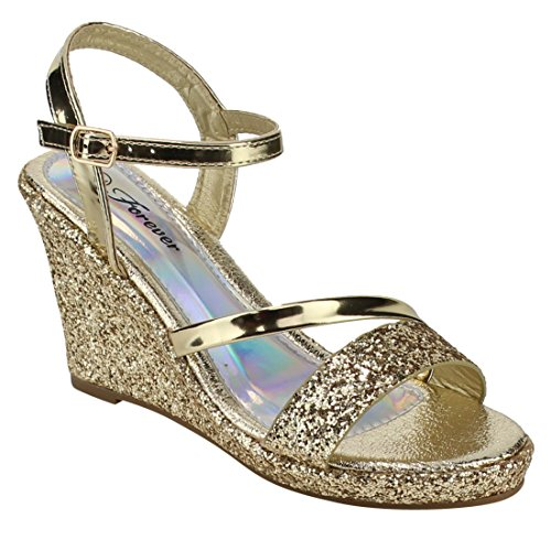 FOREVER FQ54 Women's Glitter Ankle Strap Wrapped Wedge Heel Platform Sandals, Color Gold, Size:7 Glitter Wedge Sandals