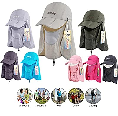iColor Sun Caps Flap Hats UV 360°Solar Protection UPF 50+ Sun Cap Removable Neck&Face Flap Cover Caps for Man Women Baseball Backpacking Cycling Hiking Fishing Garden Hunting Outdoor Camping