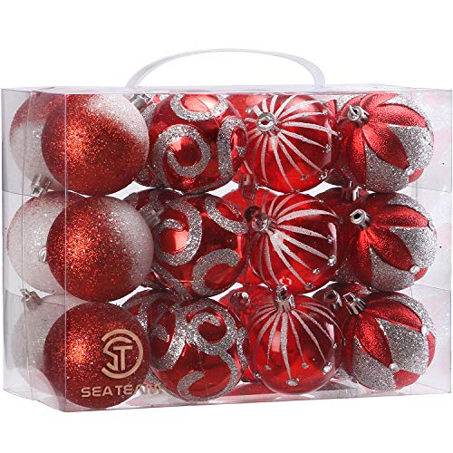 Sea Team 2.36/60mm Decorative Shatterproof Painting & Glitering Designs Christmas Ornaments Christmas Balls Set with Embossed Finish Surface, 24-Pack, Red