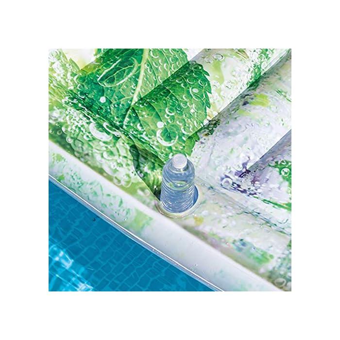 51TEVLskyEL Refréscate sobre esta colchoneta con impresión fotorrealista y diseño de mojito Figura hinchable fabricada en vinilo de 0,28 mm de grosor, medidas: 178 x 91 cm Dispone de posavasos en el lateral y cabecero, estructura acanalada