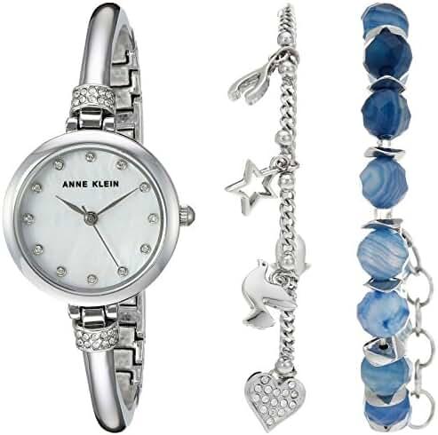 Anne Klein Women's AK/2841BAGT Swarovski Crystal Accented Silver-Tone Bangle Watch and Bracelet Set