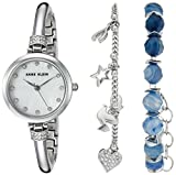 Anne Klein Women's AK/2841BAGT Swarovski Crystal Accented Silver-Tone Bangle Watch and Bracelet Set