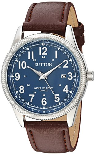 Sutton by Armitron Men's SU/5011NVBN Date Function Silver-Tone and Brown Leather Strap Watch