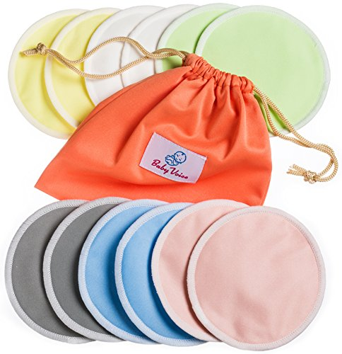 Organic Bottle Top (Reusable Nursing Pads 12 Pack | Organic Bamboo | Laundry & Travel Bag | Breastfeeding & Baby Sleeping Guide | Softest Breast Pads by BabyVoice)